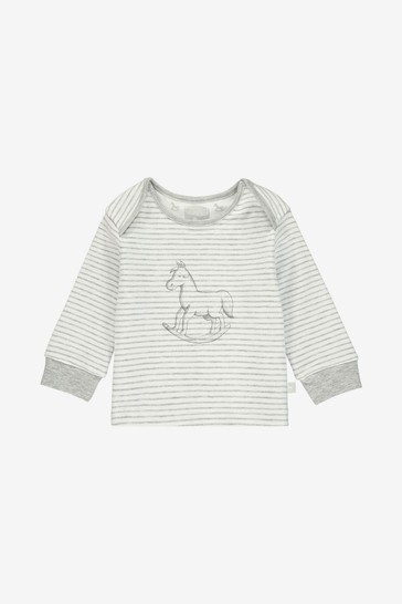 The Little Tailor White Chest Print Rocking Horse Jersey Top