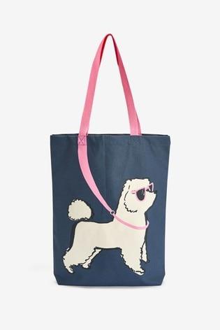 Navy Dog Print Reusable Canvas Bag-For-Life
