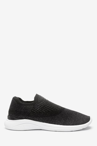 Dune London Black Easy Slip-On Fabric Knitted Trainers