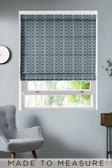 Linear Stem Cool Grey Made To Measure Roman Blind by Orla Kiely