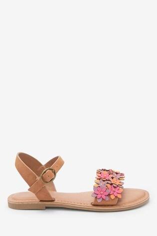 Tan Flower Embellished Sandals (Older)