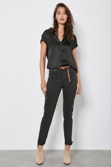 Mint Velvet Khaki Houston Utility Jeans