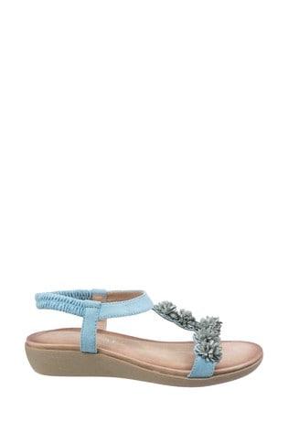 Fleet & Foster Blue Matira T Bar Slingback Sandals