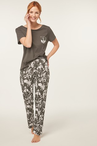 Charcoal Floral Cotton Blend Pyjamas