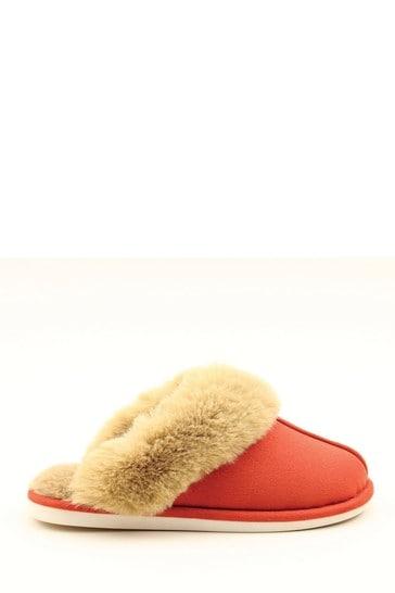 Heavenly Feet Red Ladies Comfort Slippers