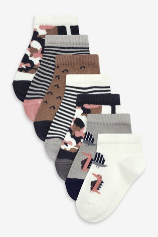 Mineral Dino 7 Pack Cotton Rich Trainer Socks