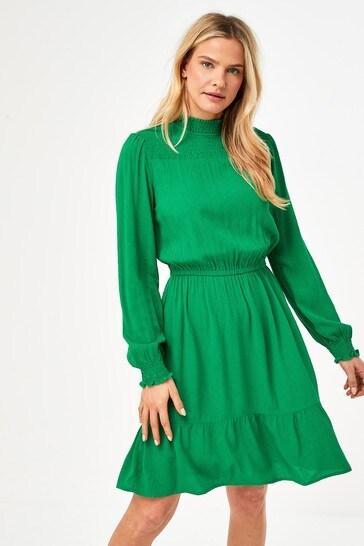 Green High Neck Tea Dress