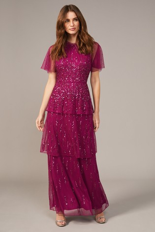 Phase Eight Red Liliana Tiered Embellished Dress