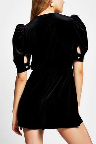 River Island Black Velvet Collar Trim Playsuit