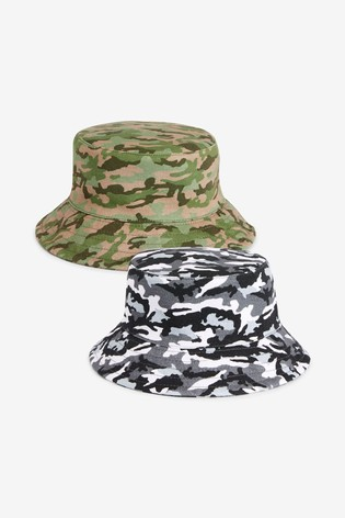 Mono/Green Camouflage 2 Pack Bucket Hats (3mths-10yrs)