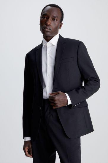 Calvin Klein Black Stretch Wool Slim Blazer