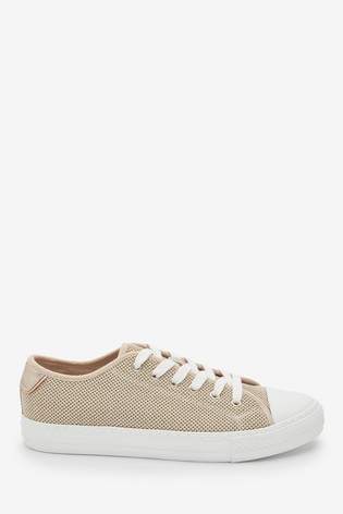 Gold Fly Knit Baseball Lace-Up Trainers