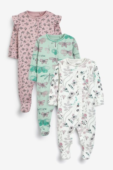 Lilac Floral 3 Pack Embroidered Detail Sleepsuits (0-3yrs)