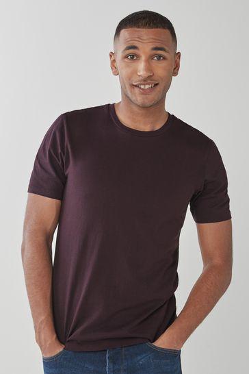 Dark Burgundy Slim Fit Crew Neck T-Shirt
