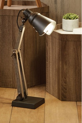 Lincoln Wood & Grey Metal Table Task Lamp by Pacific