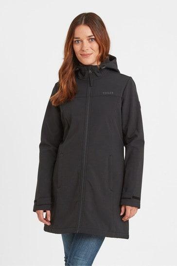 Tog 24 Womens Black Keld Hooded Long Length Softshell Jacket