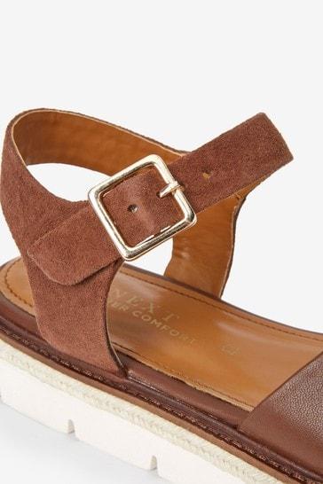 Tan Regular/Wide Fit Forever Comfort® Flatform Sandals