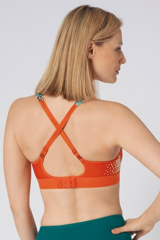 Triumph Orange Triaction Hybrid Lite Padded Non Wired Sports Bra