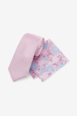 Pink Signature Tie With Pocket Square Set