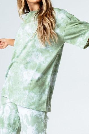 Hype. Womens Green Tie Dye Oversized T-Shirt