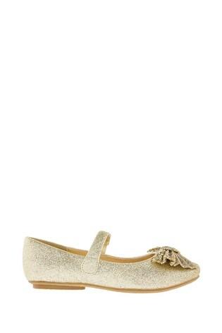 Monsoon Gold Glitter Bow Ballerinas
