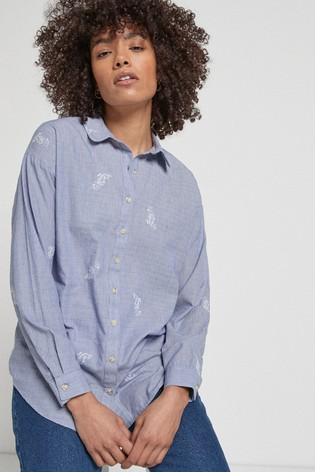 Chambray Paisley Embroidered Casual Shirt