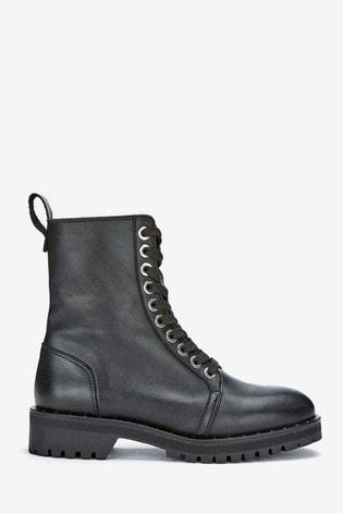 Mint Velvet Black Debbie Leather Boots