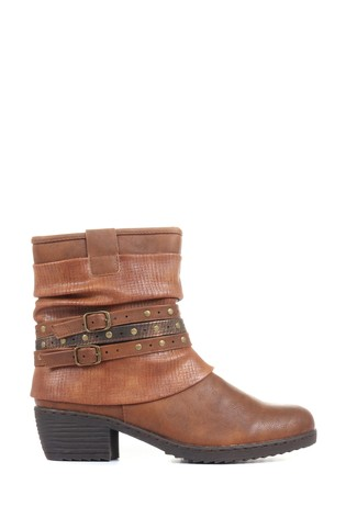 Pavers Tan Ladies Slouch Fit Ankle Boots
