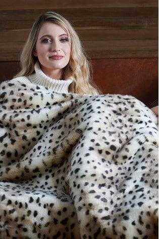 Dreamland Natural Leopard Print Luxury Faux Fur Heated Throw