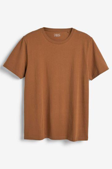 Tan Regular Fit Crew Neck T-Shirt