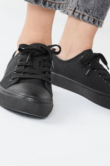 Black Lace Up Baseball Canvas Trainers