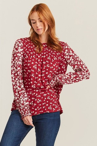 FatFace Red Ellen Poppy Meadow Blouse
