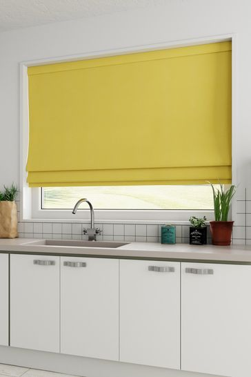 Cotton Ochre Yellow Made To Measure Roman Blind