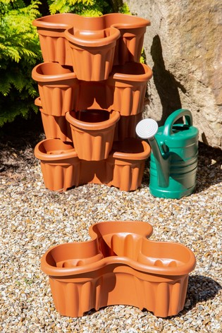 Set of 5 Vista Medium Plastic Tri-Planter