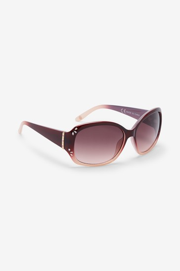 Pink Ombre Cut-Out Detail Square Sunglasses