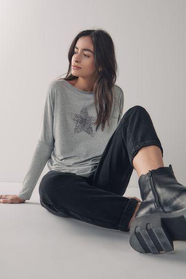 Grey Embellished Star Dolman Long Sleeve Top