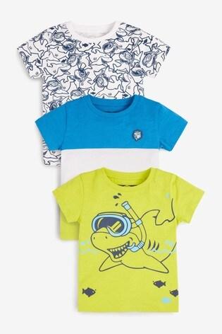 Fluro Shark 3 Pack T-Shirts (3mths-7yrs)