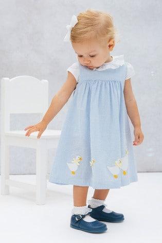 Trotters London Blue Jemima Pinafore Dress