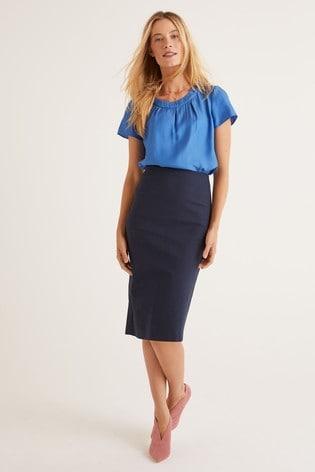 Boden Blue Kensington Pencil Skirt