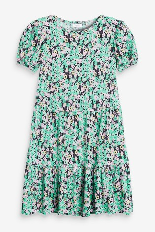 Green/Pink Floral Tiered Dress (3-16yrs)