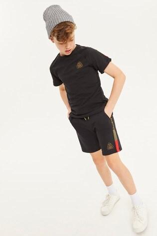 Black Taped Shorts And T-Shirt Set (3-16yrs)
