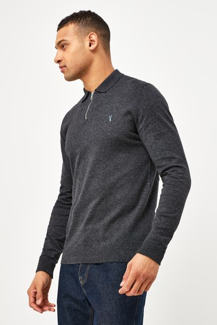 Charcoal With Stag Embroidery Knitted Zip Neck Polo Shirt