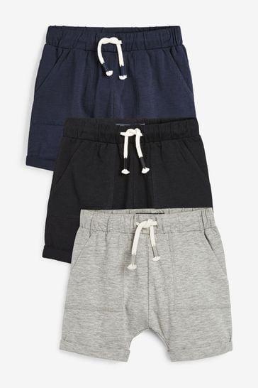 Navy/Grey/Black 3 Pack Lightweight Jersey Shorts (3mths-7yrs)
