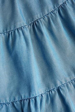 Mid Blue TENCEL™ Tiered Maxi Skirt (3-16yrs)