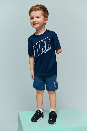 Nike Little Kids Performance Navy T-Shirt And Shorts Set