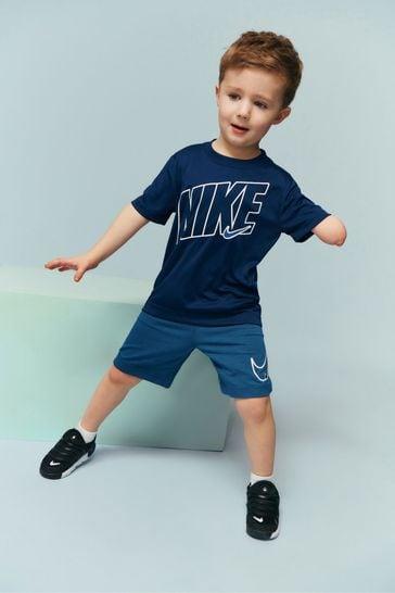 Nike Little Kids Performance Navy T-Shirt And Shorts Set