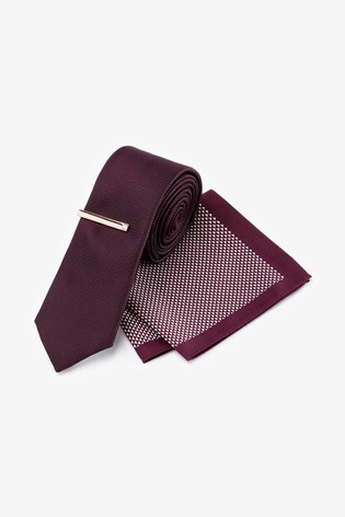 Burgundy Tie With Geometric Pocket Square Set