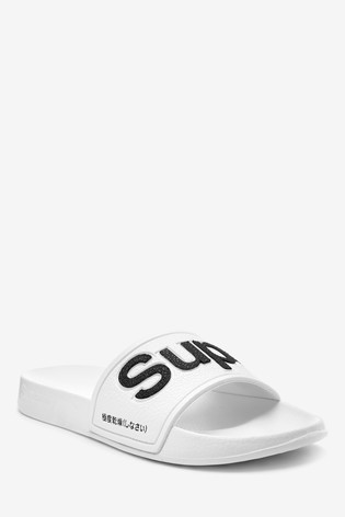 Superdry White Pool Sliders