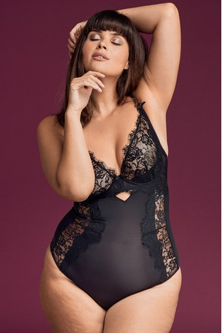 Figleaves Black Pulse Pulse Lace Underwired Body - Longer Length