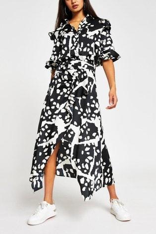 River Island White Animal Print Hanky Wrap Mid Dress